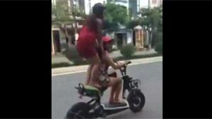 Girls Crash On Scooter