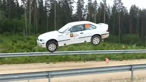 Rally Car Goes Airborne