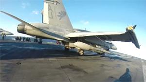 Fighter Jet Takes Off From Aircraft Carrier
