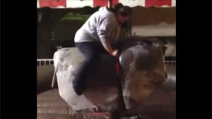 Obese Girl Rides Mechanical Bull