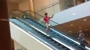 Sliding Off Escalator Fail