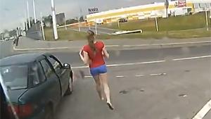 Suicidal Girl Crossing Highway