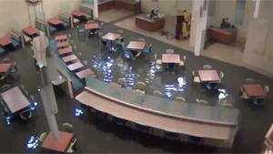 Flood Breaks Through Hopital Entrance
