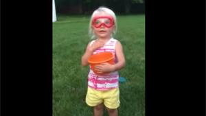 Cute Little Girl Doing Ice Bucket Challenge