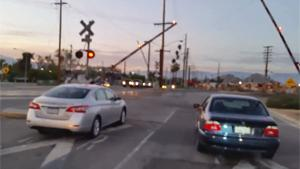 Lame Train Horn Prank At Crossing