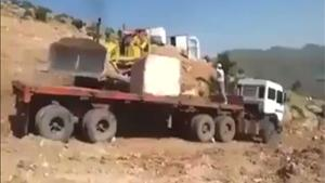 Stone Block Destroys Truck