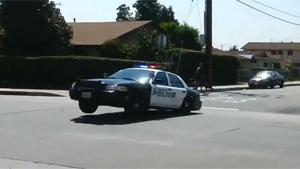 Police Car Goes Airborne