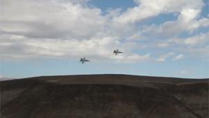 F18s Low Flyby In Death Valley Canyon