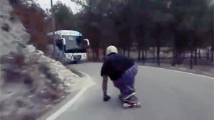 Very Close Call For Longboarder
