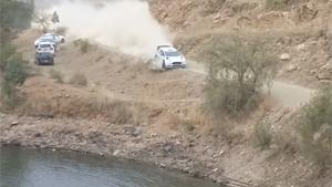 Rally Car Goes For A Swim