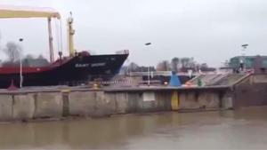Ship Crashes Into Sluice