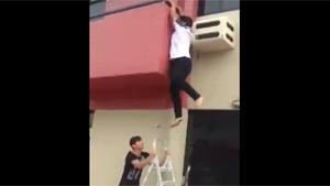 Climbing Down Balcony Goes Wrong