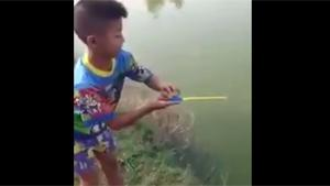 Catching Fish With Toy Fishing Pole