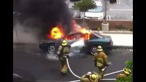 Airbag Explosion In Car Fire