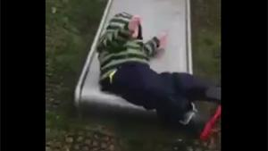 Kid Launched From Wet Slide