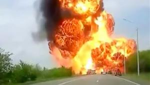 Huge Explosion On Russian Highway