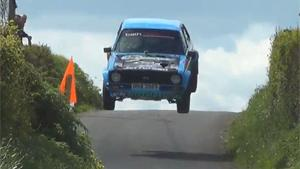 Rally Car Goes Airborne After Jump