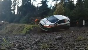 Rally Car Lands On Roof