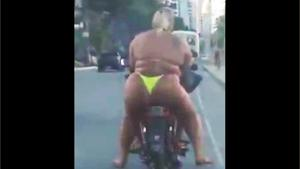 Fat Girl In Bikini On Scooter