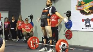 Weightlifter Interacts With His Audience