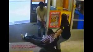 Female Security Guard Holds Shoplifter