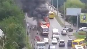 Burning Trolleybus On The Run