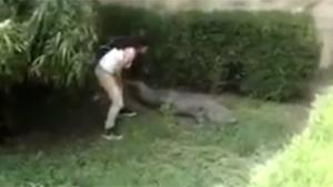 Girl Jumps In Crocodile Pit