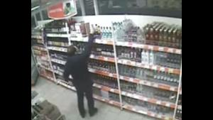 Liquor Thief Takes Himself Out
