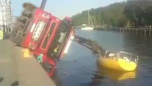 Truck Falls Over In Water