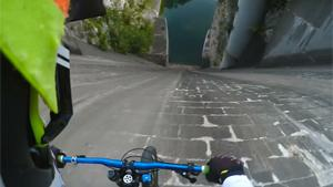 Crazy Biker Drives From Dam