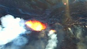 Flying Over Active Volcano