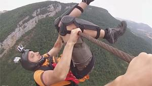 Crazy Zipline Base Jump