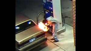 Idiot Sets Gas Station On Fire
