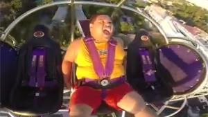 Big Guy Freaks Out On Slingshot