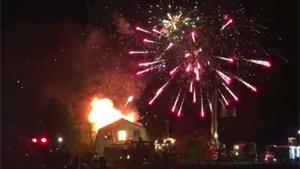 Fireworks Go Off In Burning House