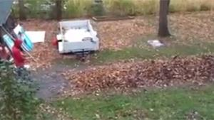 Cleaning Up Autumn Leaves Redneck Style