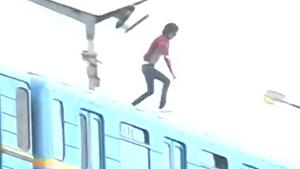 Insane Jump From Train Surfer