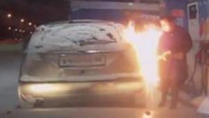 Dumb Woman Sets Car On Fire