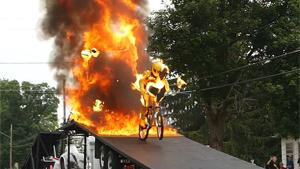 Flaming BMX Stunt