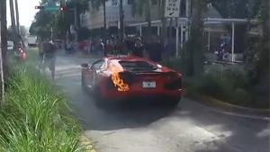 Lamborghini Aventador On Fire