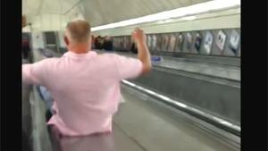 London Subway Slide Fail