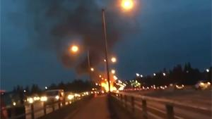 Car Catches Fire On Highway