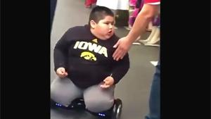 Obese Kid On Balance Board