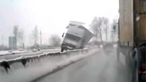 Truck Takes Corner Way Too Fast