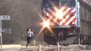Girl Almost Hit By Train