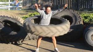 Hula Hooping With Tractor Tyre