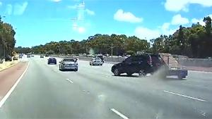 Car Towing Trailer Loses Control
