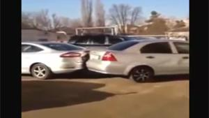 Crazy Lady Creates Havoc On Parking Lot