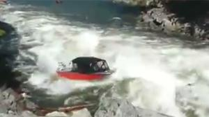 Boat Goes Against Strong Current