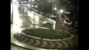 Car Goes Airborne On Roundabout